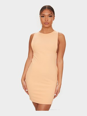 PrettyLittleThing bandage rib crew neck low armhole bodycon dress