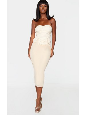 PrettyLittleThing bandeau ruched bust detail midi dress