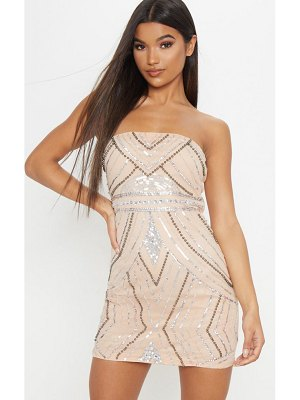 PrettyLittleThing bandeau sequin pearl embellished bodycon dress