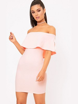 PrettyLittleThing bardot frill bodycon dress