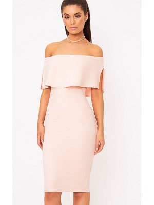 PrettyLittleThing bardot frill midi dress
