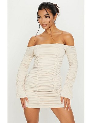 PrettyLittleThing bardot ruched sweater dress