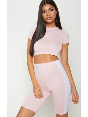 PrettyLittleThing basic baby pink short sleeve crop t shirt