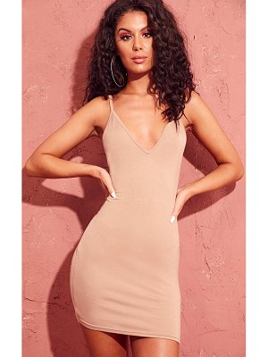 PrettyLittleThing basic extreme plunge strappy bodycon dress