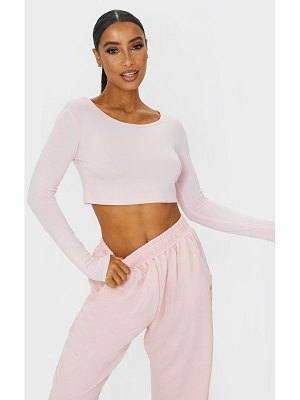 PrettyLittleThing basic jersey long sleeve crop top