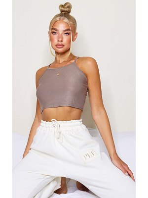PrettyLittleThing basic jersey racer neck crop top