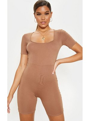 PrettyLittleThing basic short sleeve square neck unitard