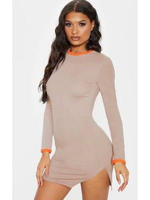 PrettyLittleThing beige contrast trim ribbed bodycon dress