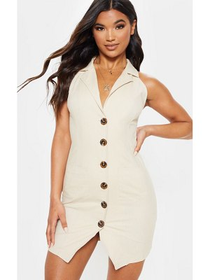 PrettyLittleThing beige sleeveless button front blazer bodycon dress