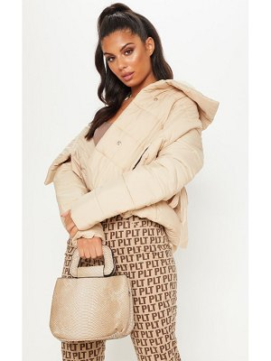 PrettyLittleThing beige snake mini  bag