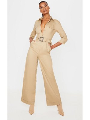 PrettyLittleThing belt detail cargo jumpsuit