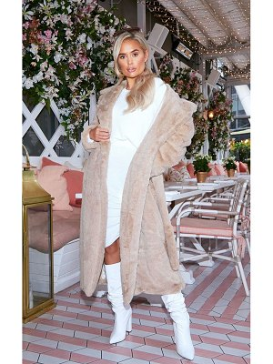 PrettyLittleThing belted faux fur coat