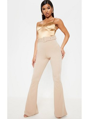 PrettyLittleThing belted flared leg pant