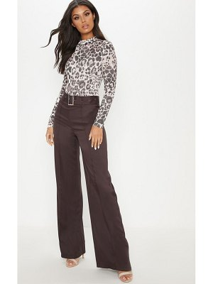 PrettyLittleThing belted front seam wide leg pants