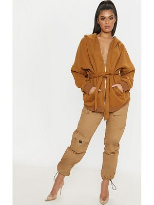 PrettyLittleThing oversized belted sweat hoodie