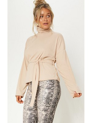 PrettyLittleThing belted long sleeve roll neck top