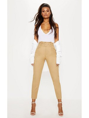 PrettyLittleThing belted paperbag tapered pants