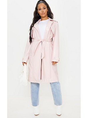 PrettyLittleThing belted patent trench coat