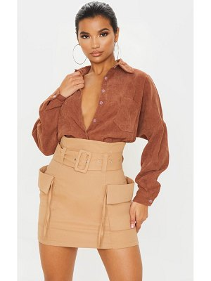 PrettyLittleThing belted pocket detail cargo mini skirt