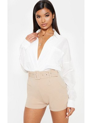 PrettyLittleThing belted tailored short