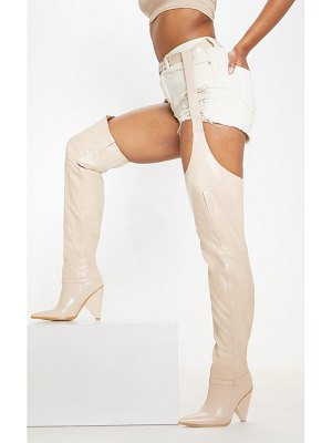 PrettyLittleThing belted thigh high western boot