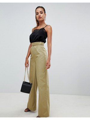 PrettyLittleThing belted waist wide leg pants