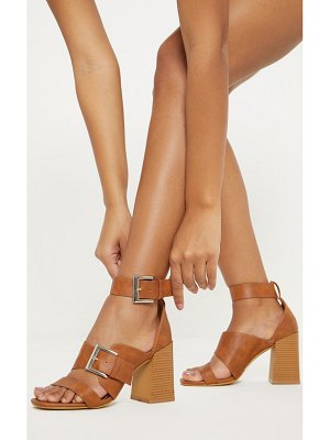 PrettyLittleThing big buckle block heel square toe sandal