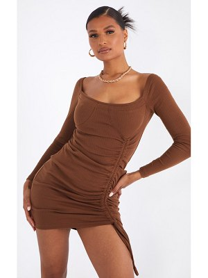 PrettyLittleThing binding detail ruched long sleeve bodycon dress