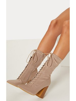 PrettyLittleThing block heel lace up lycra sock boot