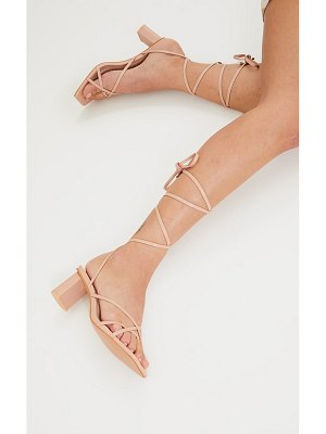 PrettyLittleThing block heel square toe ankle tie strappy sandals