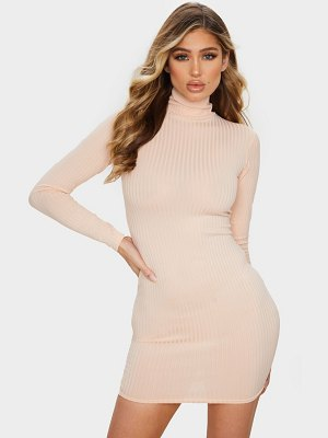 PrettyLittleThing blush ribbed long sleeve high neck bodycon dress