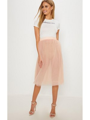 PrettyLittleThing blush tulle skirt