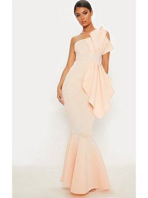 PrettyLittleThing bonded scuba pleated one shoulder fishtail maxi dress
