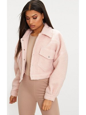 PrettyLittleThing borg cropped trucker jacket