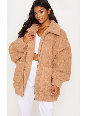PrettyLittleThing borg pocket front coat