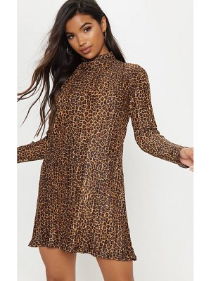 PrettyLittleThing brown high neck plisse swing dress