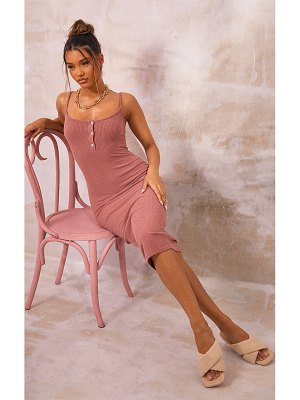 PrettyLittleThing brushed rib button front strappy midaxi dress