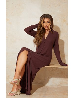 PrettyLittleThing brushed rib button up collar detail maxi dress