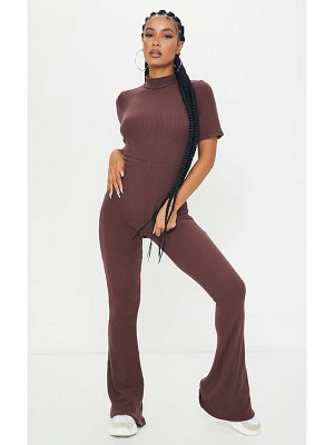 PrettyLittleThing brushed rib high neck flared jumpsuit