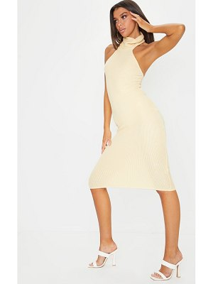PrettyLittleThing brushed rib high neck sleeveless midi dress