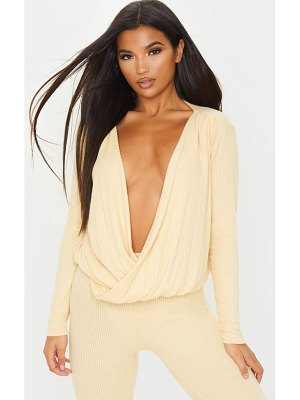 PrettyLittleThing brushed rib plunge long sleeve blouse