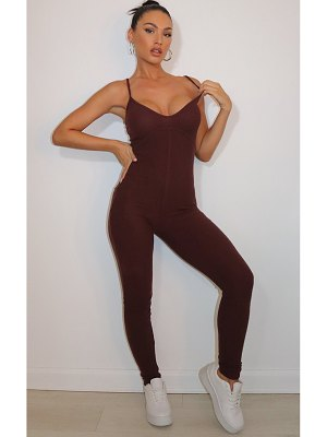 PrettyLittleThing brushed rib strappy jumpsuit
