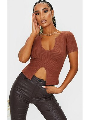 PrettyLittleThing brushed rib v neck short sleeve top