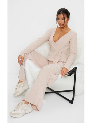 PrettyLittleThing brushed rib wrap wide leg jumpsuit