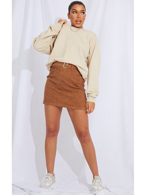 PrettyLittleThing buckle belted cord mini skirt