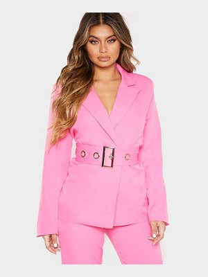 PrettyLittleThing buckle detail belted woven blazer
