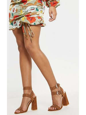PrettyLittleThing buckle detail studded block heel sandal