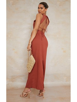 PrettyLittleThing burnt clay  linen look binding strappy tie back maxi dress