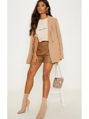PrettyLittleThing button detail contrast stitch faux leather short
