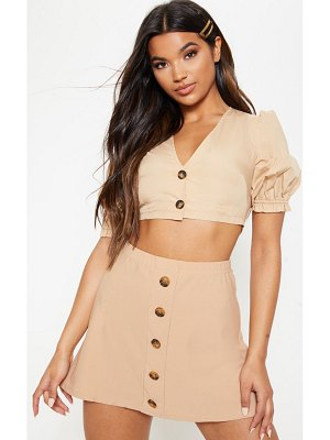 PrettyLittleThing button front a line skirt